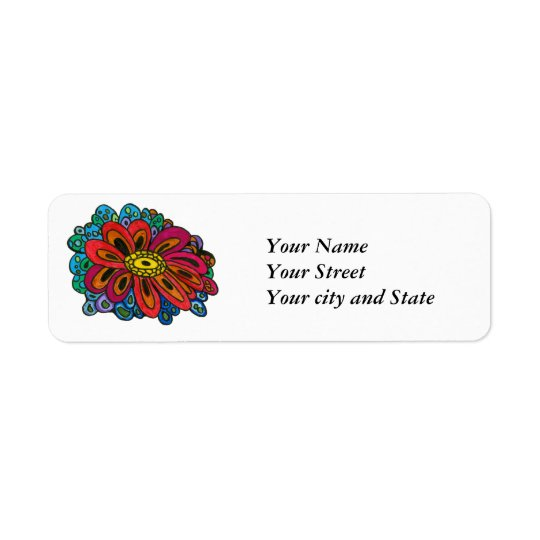 Colourful doodle Return Address Label