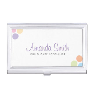 Colourful Dots Child Care Babysitting Coordinating Business Card Holder