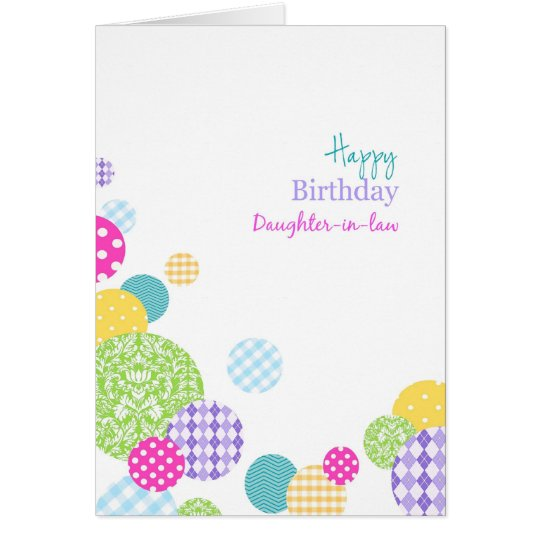 Colourful dots Happy Birthday daughter-in-law Card