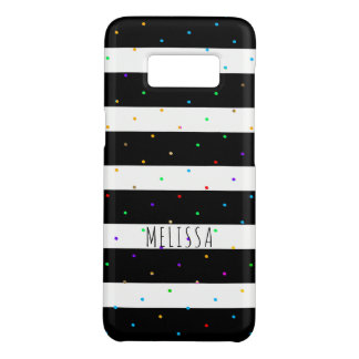 Colourful Dots Over Black & White Stripes Case-Mate Samsung Galaxy S8 Case