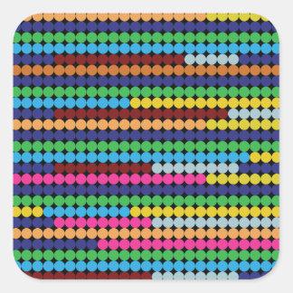 Colourful dots square sticker