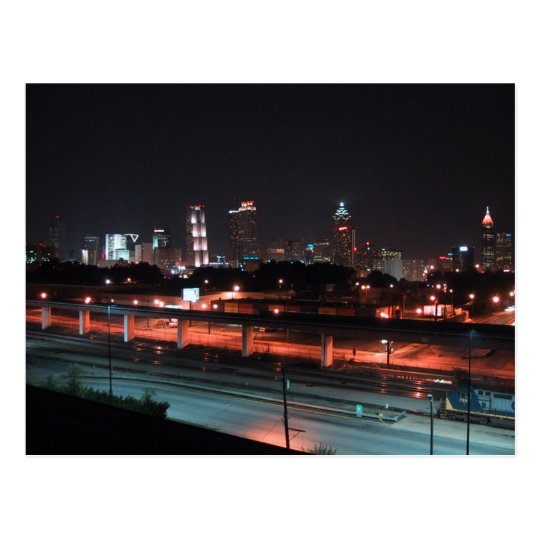 Colourful Downtown Of Atlanta Skyline At Night Postcard