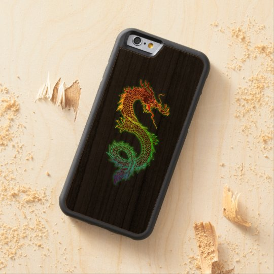 Colourful Dragon on Black Background Carved Cherry iPhone