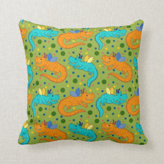 Colourful dragons throw pillow