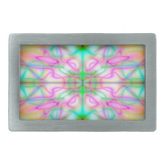 Colourful drawn pattern rectangular belt buckles