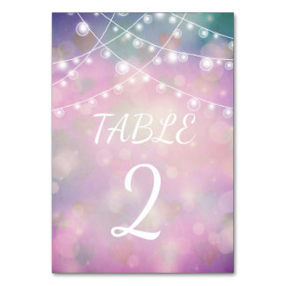 Colourful, dreamy Wedding Table Card with lights