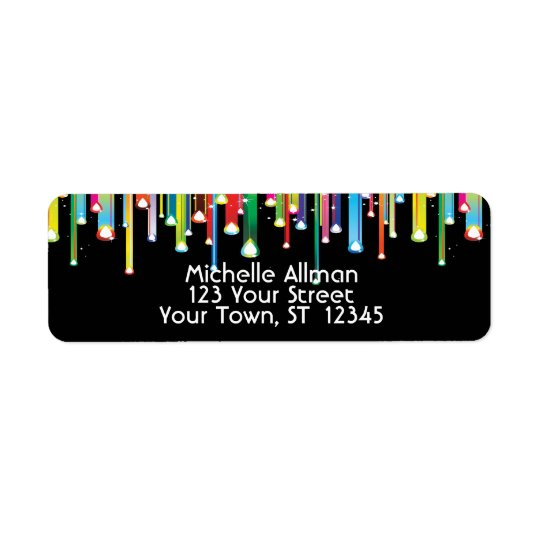 Colourful Dripping Lines Avery Label Return Address Label