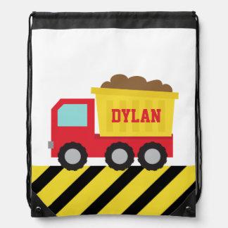 Colourful Dump Truck, Construction Vehicle, Boys Drawstring Bag