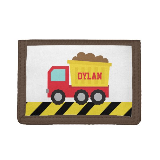 Colourful Dump Truck, Construction Vehicle, Boys Tri-fold Wallet