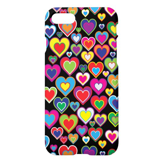 Colourful Dynamic Rainbow Hearts in Hearts Pattern iPhone