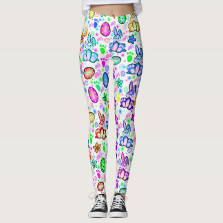 Colourful Easter Bunny Print Leggings
