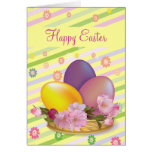 Colourful Easter Eggs & Flowers Happy Easter Greeting Card