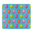 Colourful Easter Eggs On Polka Dot Background Cutting Board