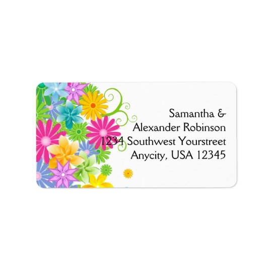 Colourful Easter Flower Bunch Address Label