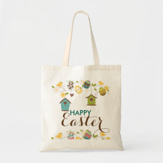 Colourful Eggs Flowers Bird-feeders Happy Easter Budget Tote Bag