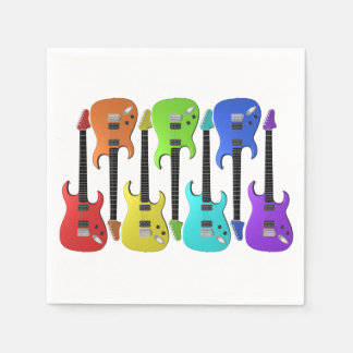 Colourful Electric Guitars Paper Napkins