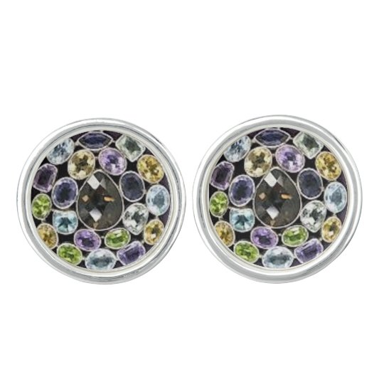 Colourful Elegant Diamond Cufflinks, Silver Plated Cufflinks