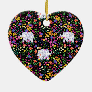 Colourful elephant floral Indian inspired design Ceramic Heart Decoration