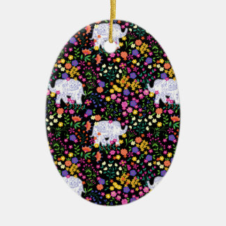 Colourful elephant floral Indian inspired design Christmas Ornament