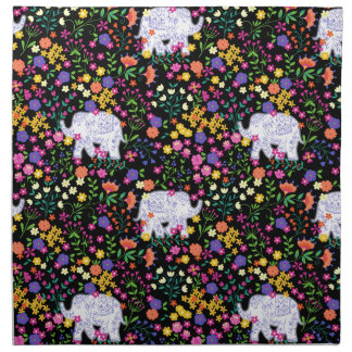 Colourful elephant floral Indian inspired design Napkin