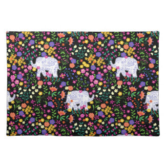 Colourful elephant floral Indian inspired design Placemat