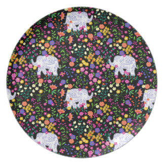 Colourful elephant floral Indian inspired design Plate