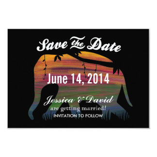 Colourful Elephant Silhouette Save the Date Cards 9 Cm X 13 Cm Invitation Card