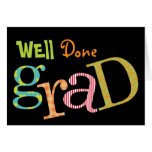 Colourful excitement well done grad congratulation cards