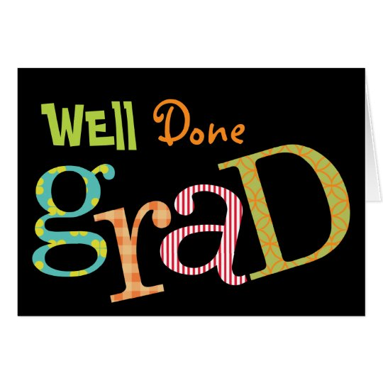 Colourful excitement well done grad congratulation card