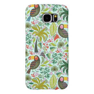 Colourful Exotic Birds And Flowers Pattern Samsung Galaxy S6 Cases