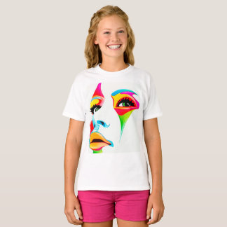 Colourful face Girls' Hanes TAGLESS® T-Shirt,White T-Shirt