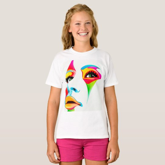 Colourful face Girls' Hanes TAGLESS® T-Shirt,White T-Shirt