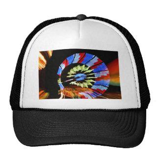 Colourful fair ride neon light photograph mesh hats