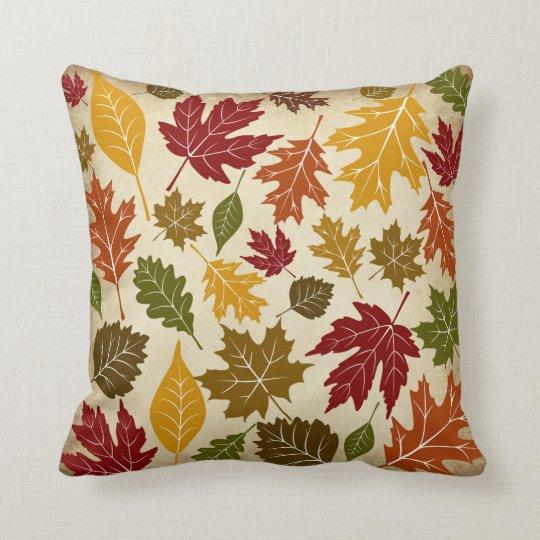 Colourful Fall Autumn Tree Leaves Pattern Cushion