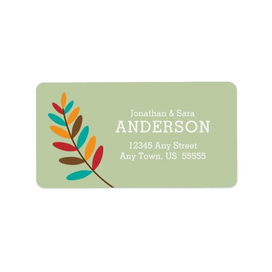 Colourful Fall Leaves on Green Autumn Address Label