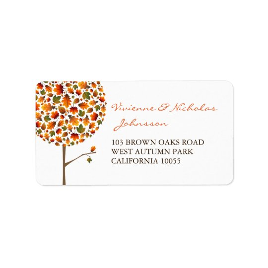 Colourful Fall Leaves Pop Tree Address Labels
