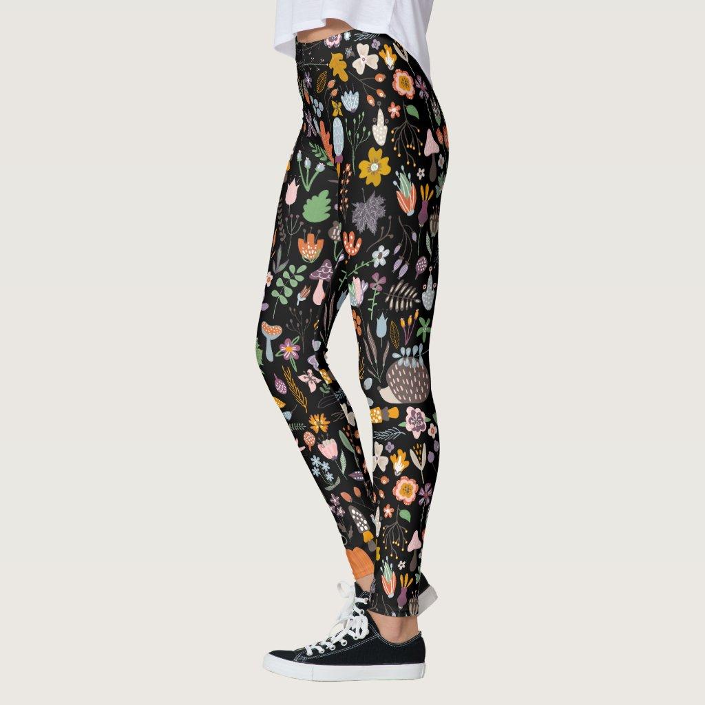 Colourful Autumn Folk Floral Pattern Leggings