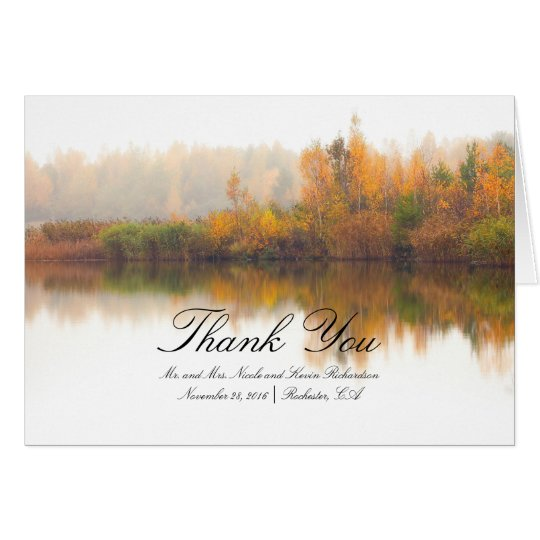 Colourful Fall Trees Rustic Wedding Thank You Card