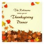 Colourful Falling Leaves Thanksgiving Dinner Invites
