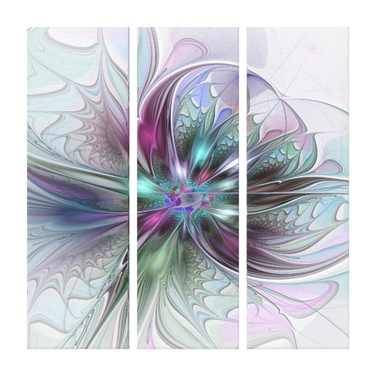 Colourful Fantasy Abstract Modern Flower Triptych Canvas Print