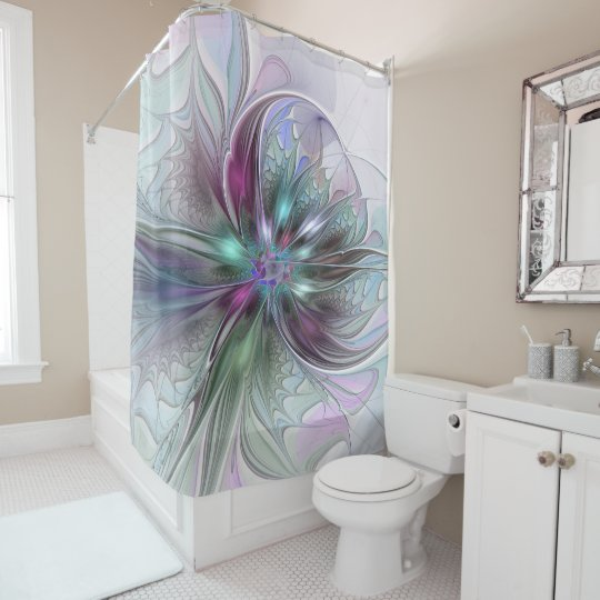 Colourful Fantasy Abstract Modern Fractal Flower Shower Curtain