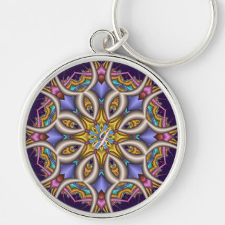 Colourful fantasy flower key ring
