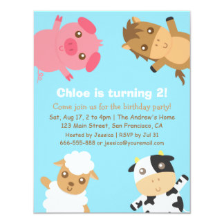 Colourful Farm Animals Birthday Party Invitation