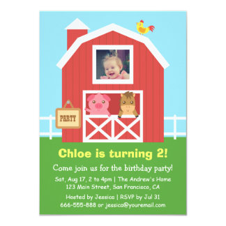 Colourful Farm Barnyard Animal Birthday Party Card