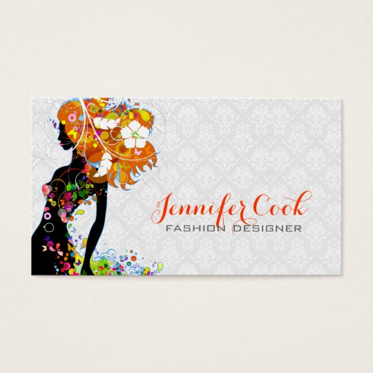 Colourful Fashion Floral Girl Silhouette Business Card