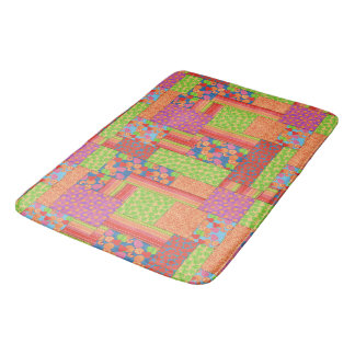 Colourful Faux Patchwork of Summer Fruits Patterns Bath Mat