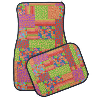 Colourful Faux Patchwork of Summer Fruits Patterns Car Mat