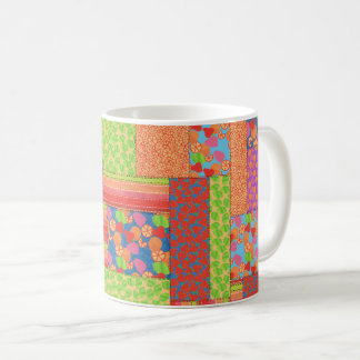 Colourful Faux Patchwork of Summer Fruits Patterns Coffee Mug
