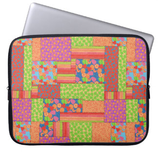 Colourful Faux Patchwork of Summer Fruits Patterns Laptop Sleeve