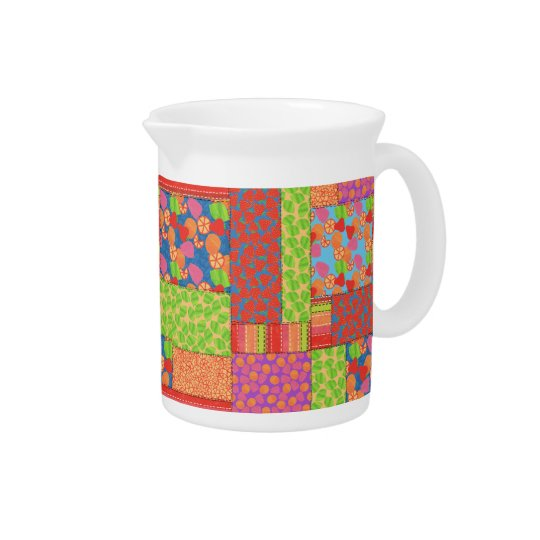 Colourful Faux Patchwork of Summer Fruits Patterns Pitcher